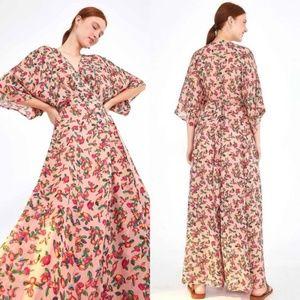 Anthro Farm Rio Dainty Cashew Wrap Maxi Dress